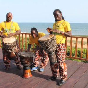 Liberian Dance Event beating drum